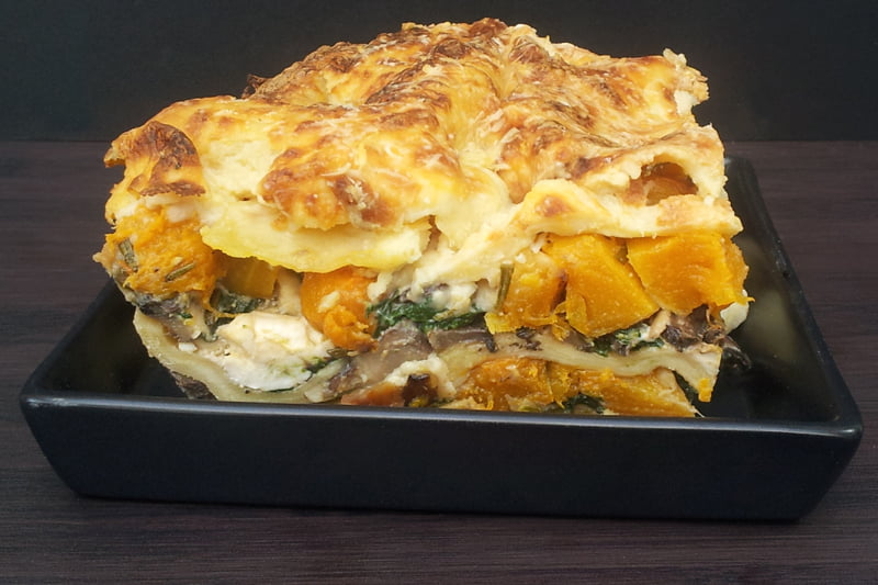 Butternut Squash, Spinach and Mushroom Lasagna [vegetarian] -