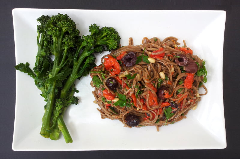 Purple Sprouting Broccoli and Red Pepper Noodle Salad [flexitarian] -