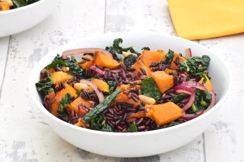 Butternut Squash & Kale Black Rice Salad with Ginger Lime Dressing ...