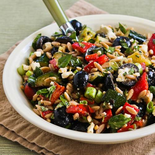 ... Wheat Orzo and Grilled Vegetable Salad with Feta, Olives, and Herbs