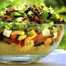 Roasted Vegetable Couscous Salad with Harissa-style Dressing – Delia ...