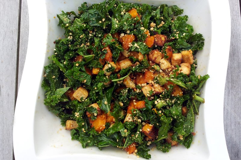 Kale Salad With Roasted Butternut and PeanutTofu vegetarian