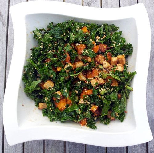 Kale Salad With Roasted Butternut and Peanut Tofu