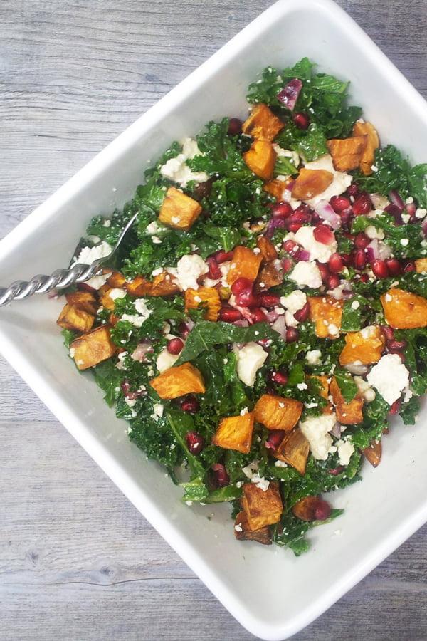 Kale, Sweet Potato, Pomegranate, Pistachio and Feta Salad [vegetarian] © The Flexitarian - Annabelle Randles