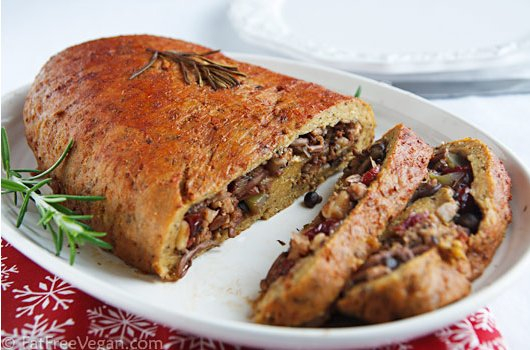 Seitan Stuffed with Walnuts, Dried Cranberries, and Mushrooms by Fat Free Vegan Kitchen
