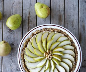 Vegan Coconut-Pear Tart by Craving Greens