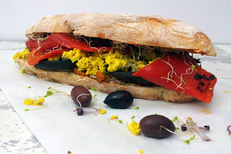 Portobello Mushrooms & Tofu Scramble Ciabatta Sandwich
