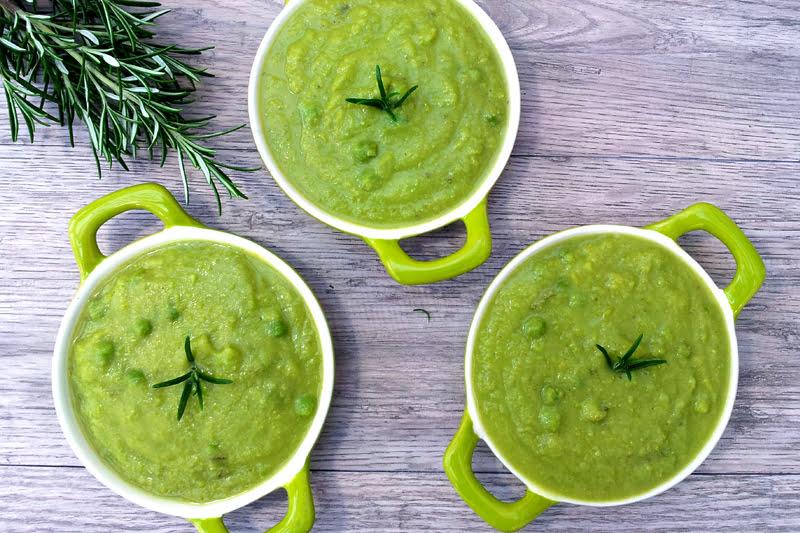 vegan parsnip pea rosemary soup