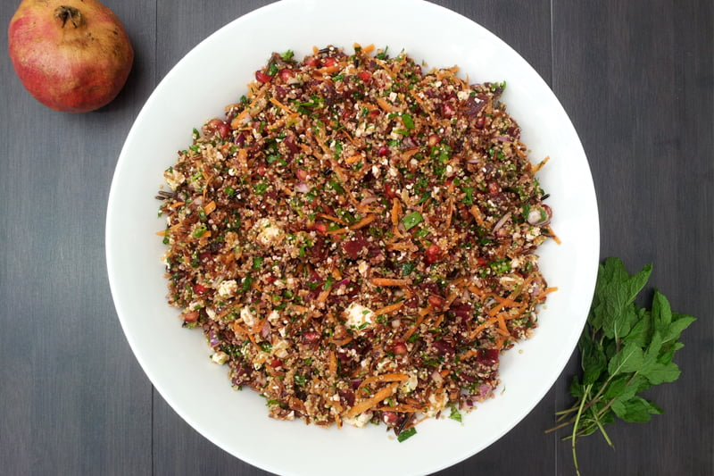 red rice quinoa vegetarian winter salad