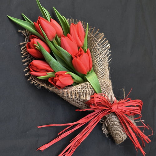 All My Love - Red English Tulip Flower Posy