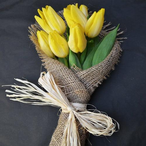 Sunshine - Yellow English Tulip Flower Posy