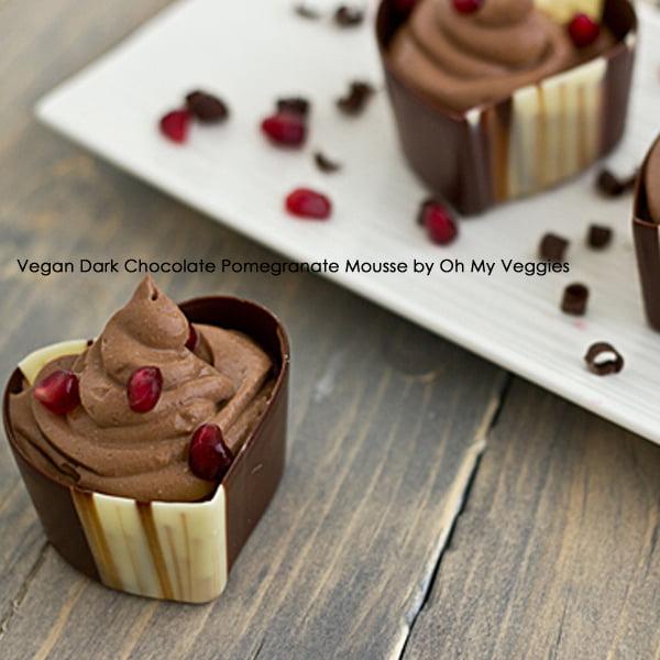 Vegan Dark Chocolate Pomegranate Mousse by Oh My Veggies