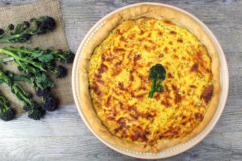 Purple Sprouting Broccoli & Shiitake Mushrooms Quiche vegetarian by The Flexitarian