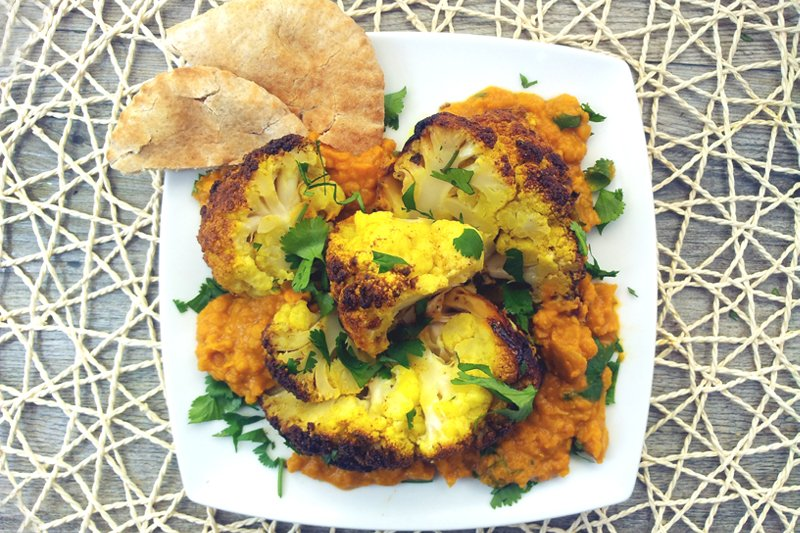 Roasted Cauliflower Head with Creamy Red Lentils Dahl