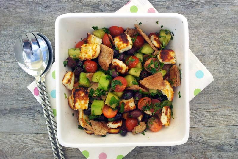 Grilled Halloumi Fattoush Salad by The Flexitarian