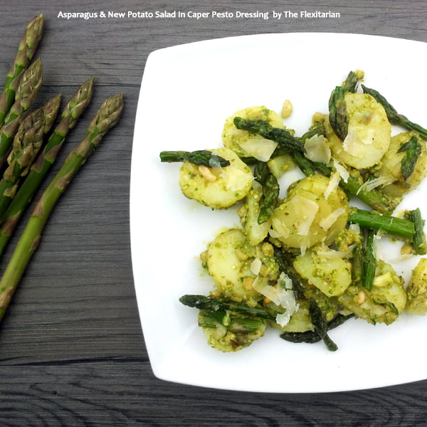 Asparagus & New Potato Salad In Caper Pesto Dressing by The Flexitarian