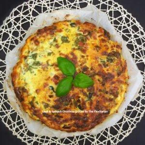 Leek & Spinach Crustless Quiche by The Flexitarian