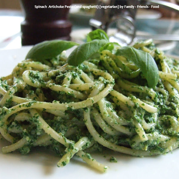 Spinach  Artichoke Pesto (and spaghetti) [vegetarian] by Family - Friends - Food