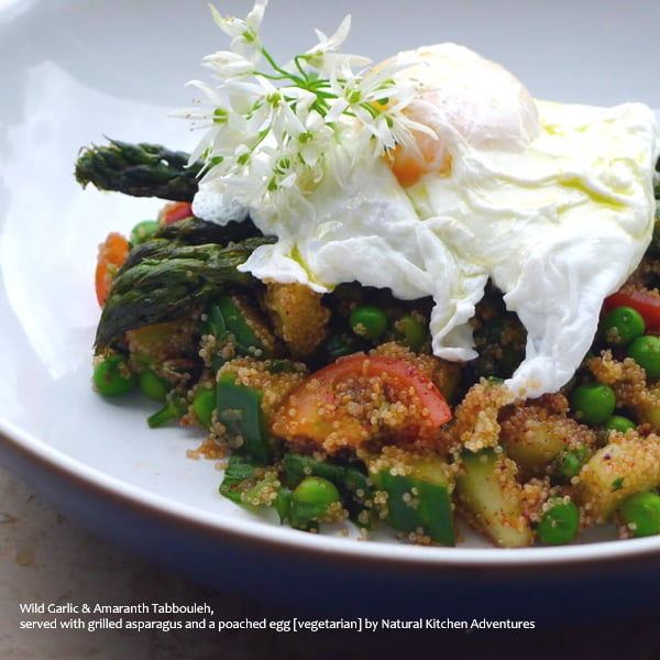 Wild Garlic & Amaranth Tabbouleh,  served with grilled asparagus and a poached egg [vegetarian] by Natural Kitchen Adventures