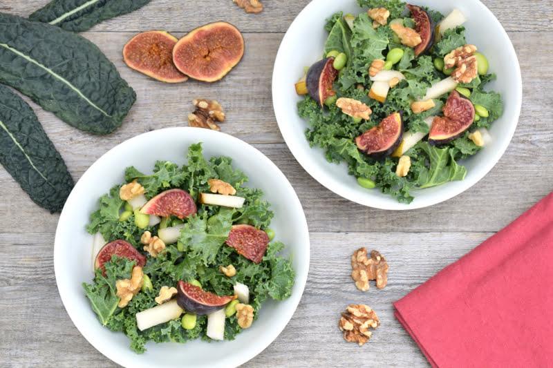 Kale, Edamame, Pear, Fig & Walnut Salad [vegan]