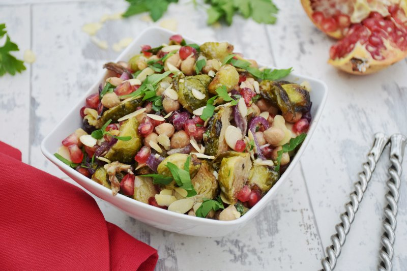 Brussels Sprouts, Chickpeas & Pomegranate Chipotle Salad with Tahini Maple Dressing #vegan by The Flexitarian