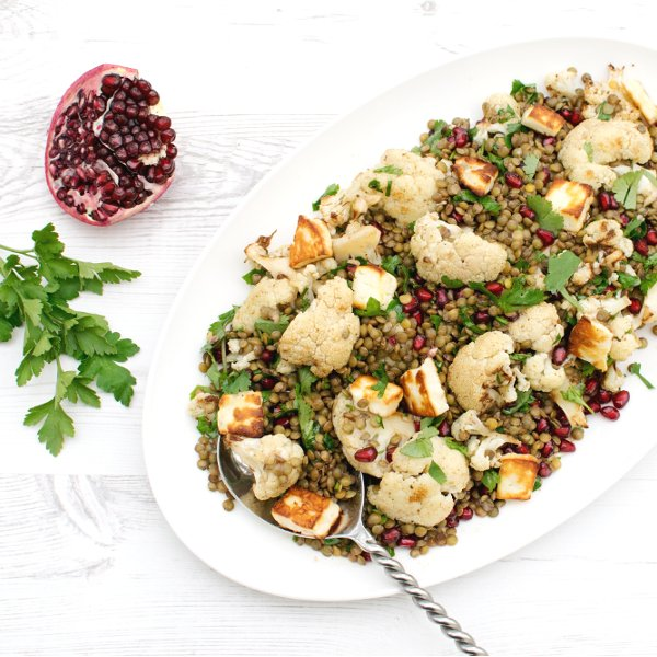 Roasted Cauliflower & Lentil Salad with Pomegranate Dressing [vegetarian] by The Flexitarian