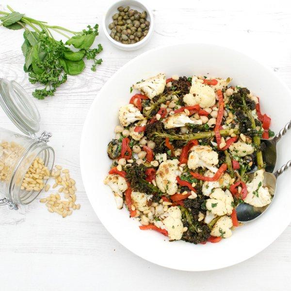 Purple Broccoli, Cauliflower Salad with Salsa Verde [vegan] by The Flexitarian