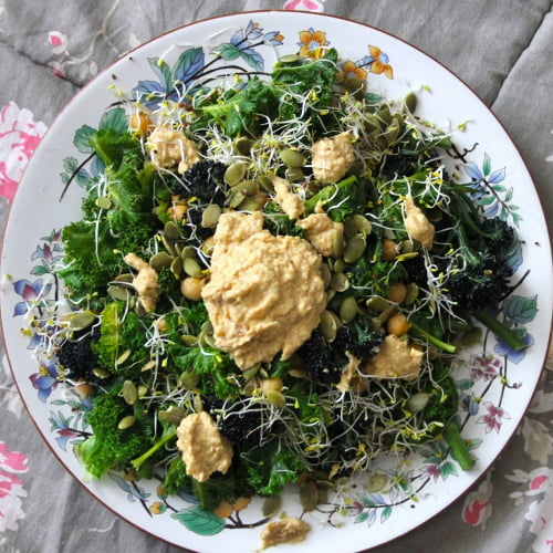 Superfood Salad – Purple Sprouting Broccoli, Chickpeas, Kale, Sprouts, and Seeds [vegan] by One Green Planet