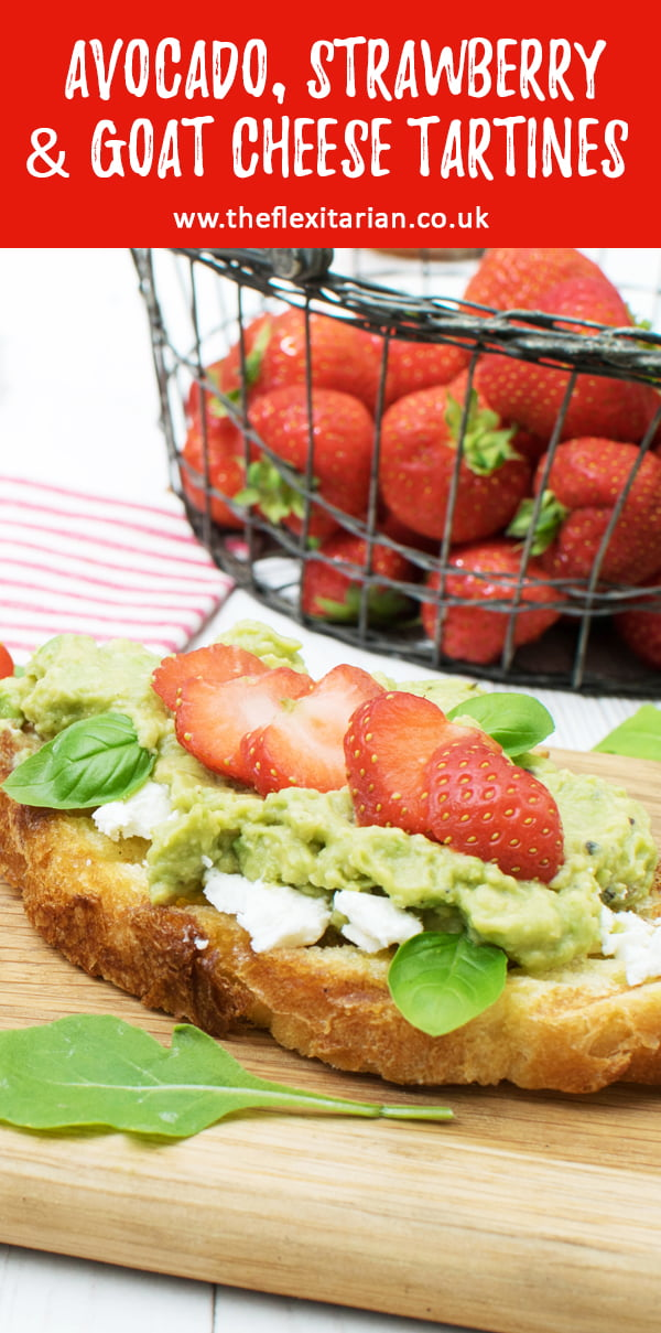 Avocado & Strawberry Tartines with Goat Cheese [vegetarian] © The Flexitarian - Annabelle Randles
