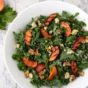 Kale Salad With Grilled Peach, Blue Cheese and Tahini Dressing [vegetarian] by The Flexitarian