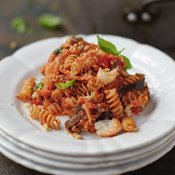 Happiness Pasta with Sweet Tomato, Aubergine & Ricotta [flexitarian] by Jamie Oliver