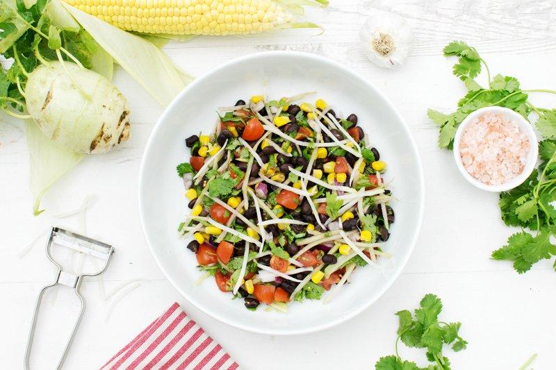 Kohlrabi Salad with Corn & Black Beans [vegan]