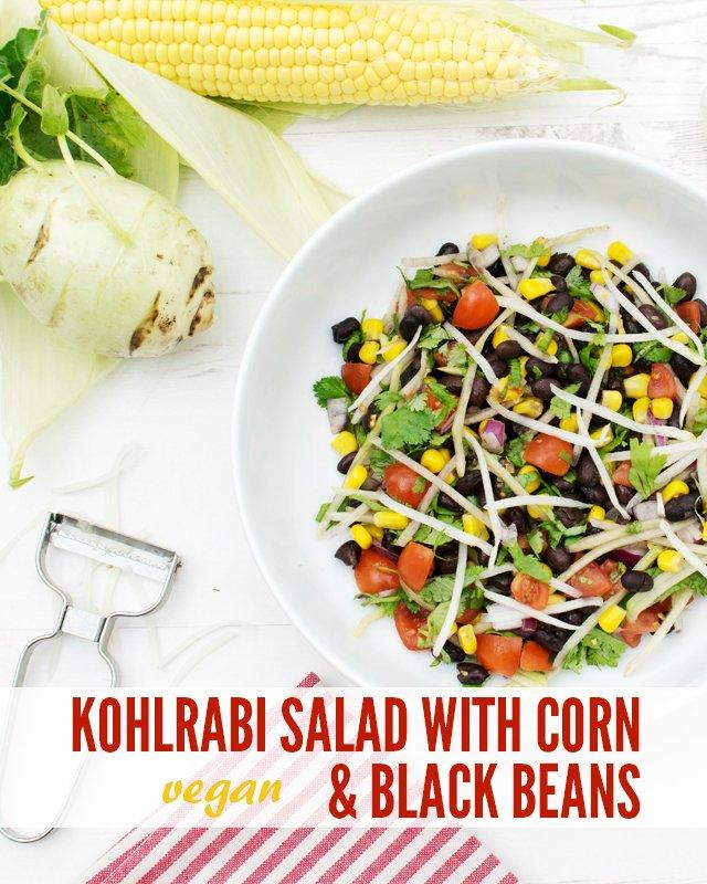 Kohlrabi Salad with Corn and Black Beans [vegan}