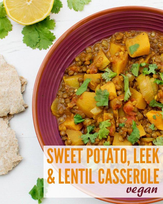 Sweet Potato, Leek & Lentil Casserole [vegan] [gluten free]
