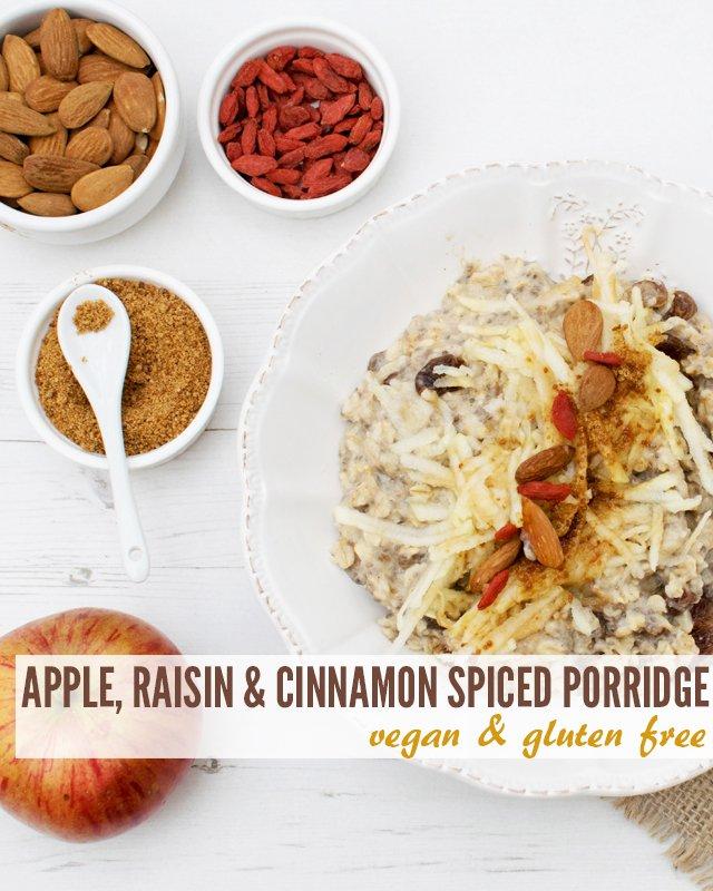 Apple, Raisin & Cinnamon Spiced Porridge [vegan] [gluten free] by The Flexitarian