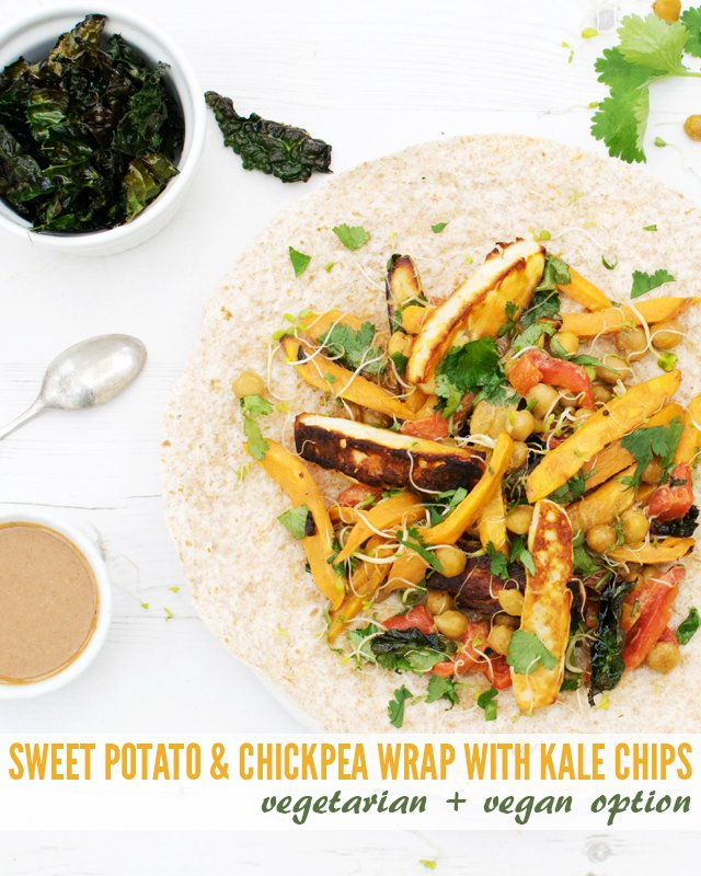 Sweet Potato & Chickpea Wrap with Kale Chips [vegetarian] [vegan ...
