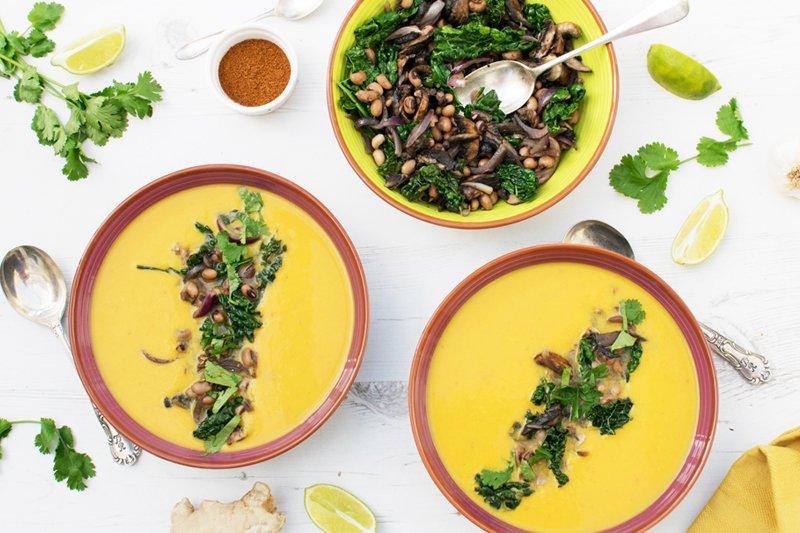 Sweet Potato Soup with Mushroom, Kale & Bean Topping [vegan] [gluten free] by The Flexitarian