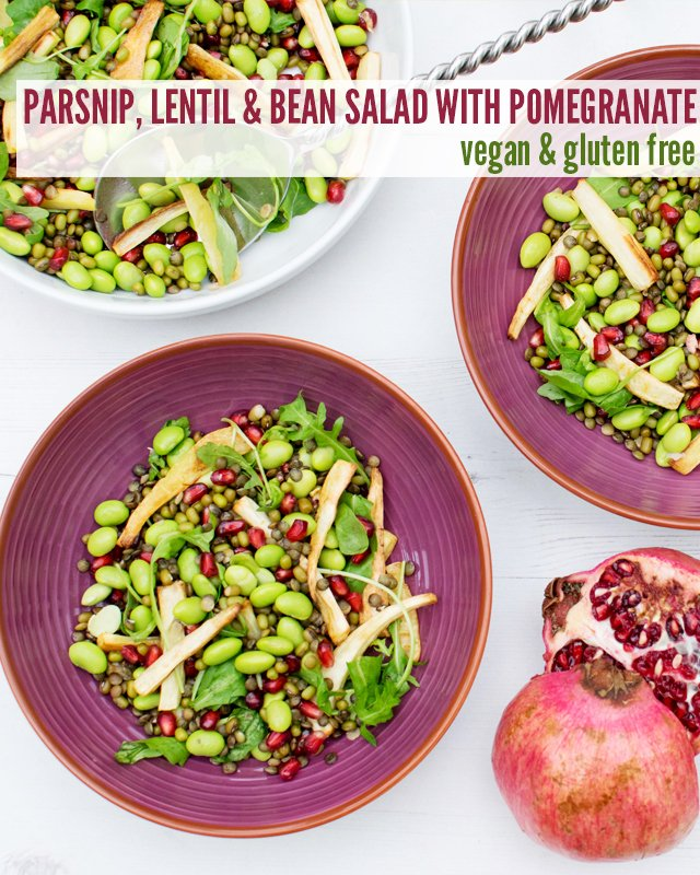 Parsnip, Lentil & Bean Salad with Pomegranate [vegan] [gluten free] by The Flexitarian
