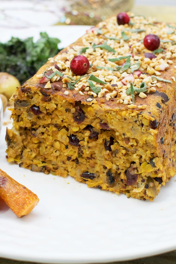 Hazelnut & Orange Nut Roast with Cranberry Sage Sauce [vegetarian] by The Flexitarian