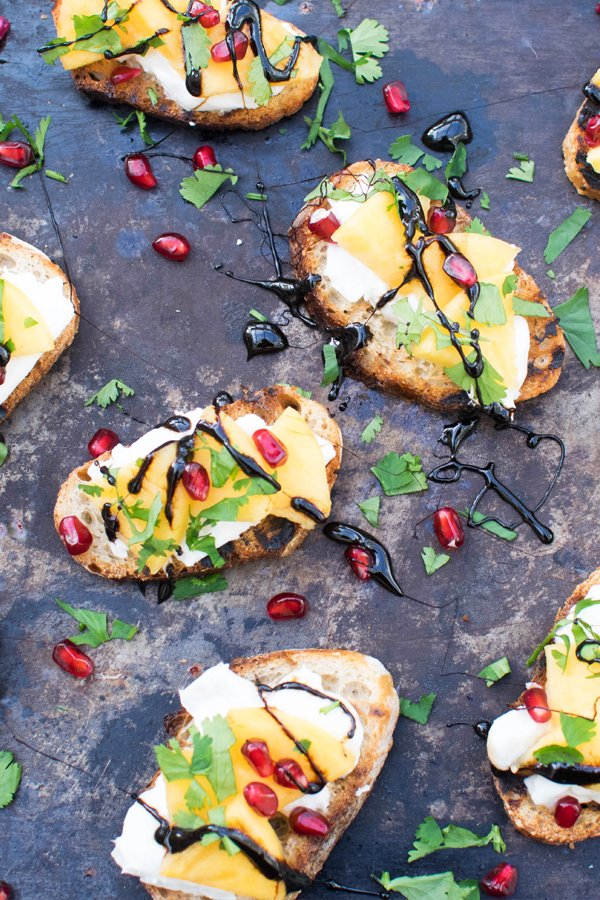 Persimmon & Mozzarella Bruschettas with Balsamic Glaze [vegetarian] by The Flexitarian