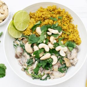 Creamy Mushrooms & Spinach with Turmeric Quinoa [vegan] [gluten free] by The Flexitarian