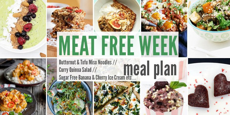 Meat Free Meal Planner: Butternut & Tofu Miso Noodles, Curry Quinoa Salad + Sugar Free Banana & Cherry Ice Cream