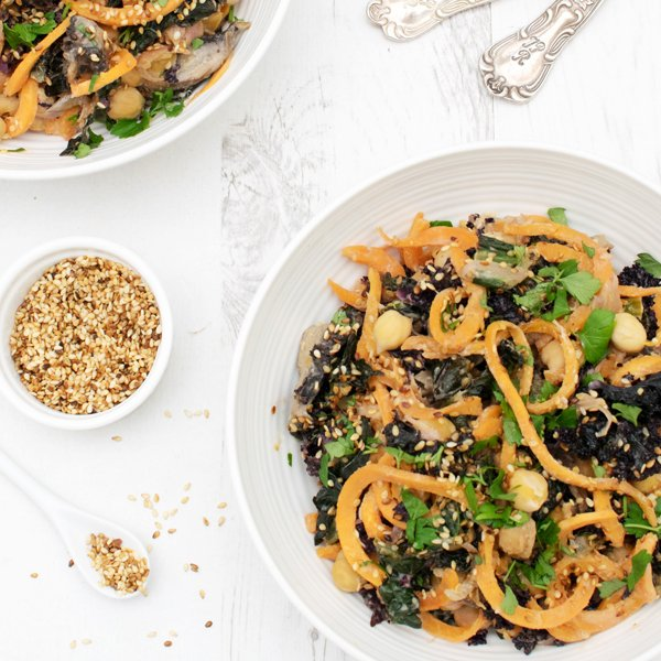 Kale & Mushroom Sweet Potato Noodles with Tahini Miso Sauce [vegan] [gluten free] by The Flexitarian