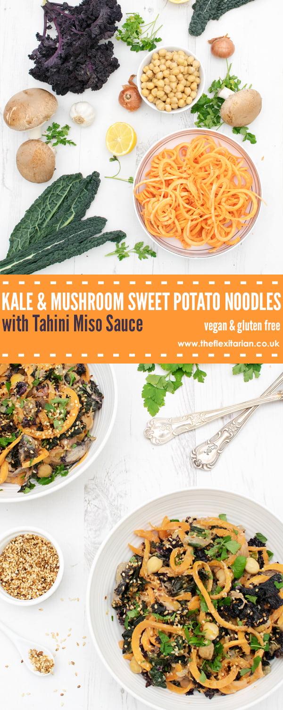 Kale & Mushroom Sweet Potato Noodles with Tahini Miso Sauce [vegan] [gluten free] by The Flexitarian