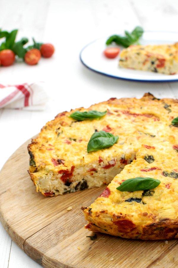 Mediterranean Cauliflower Rice Crustless Quiche [vegetarian] by The Flexitarian