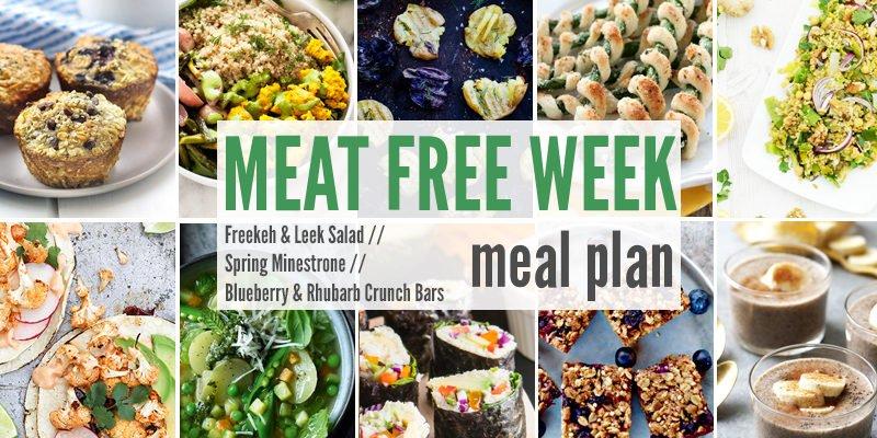 Meat Free Meal Planner: Freekeh & Leek Salad, Spring Minestrone + Blueberry & Rhubarb Crunch Bars
