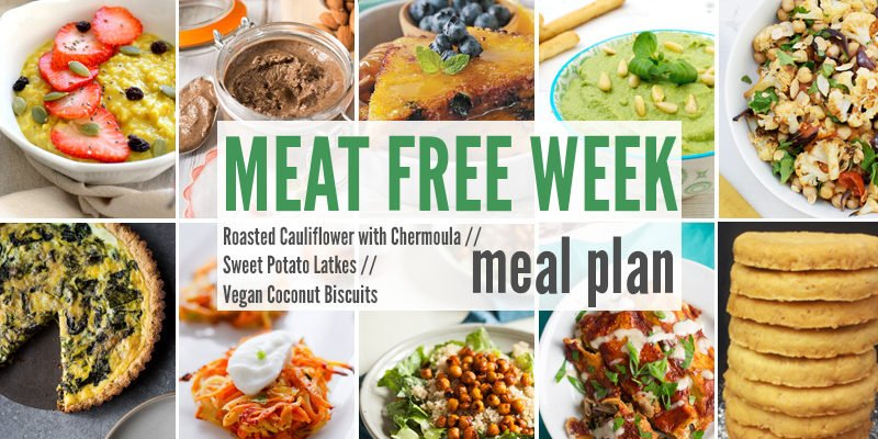 Meat Free Meal Planner: Roasted Cauliflower with Chermoula, Sweet Potato Latkes + Vegan Coconut Biscuits