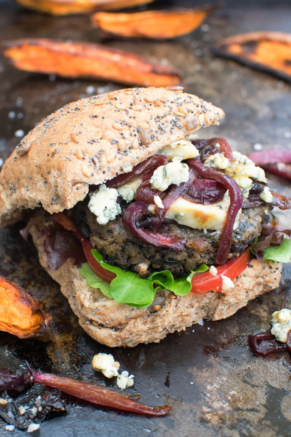 Blue Cheese Mushroom Burger With Caramelised Red Onions [vegetarian] by The Flexitarian