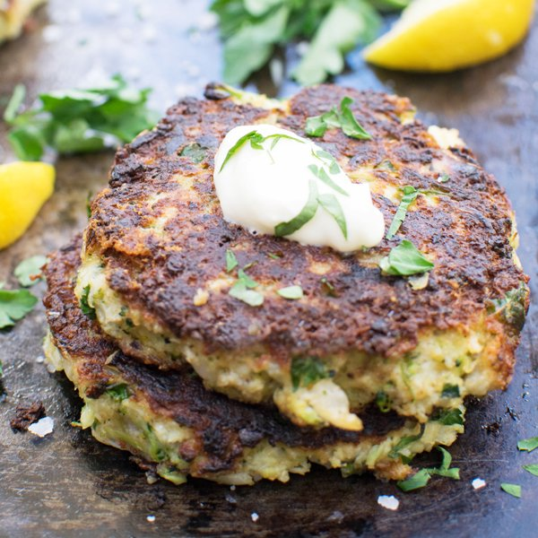 Broccoli & Cauliflower Cheddar Fritters by The Flexitarian
