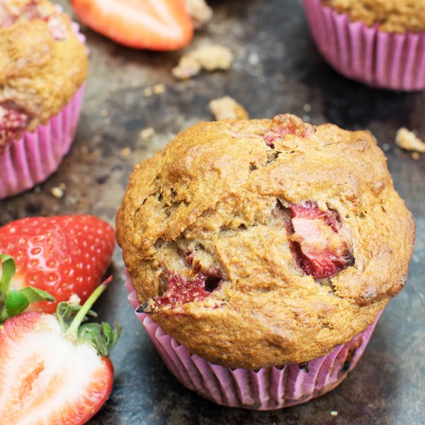 Low Sugar Banana & Strawberry Muffins [vegan] by The Flexitarian